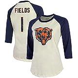 Industry Rag Women's Fanatics Justin Fields Cream/Navy Chicago Bears Player Name & Number Raglan 3/4-Sleeve T-Shirt