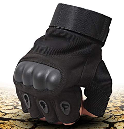AlexVyan Imported 1 Pair Black Tactical Gloves Army Military Police Rubber Knuckle Outdoor Gloves Protective Half Finger Hand Riding, Cycling, Bike Motorcycle Gym Gloves for Men, Universal Size