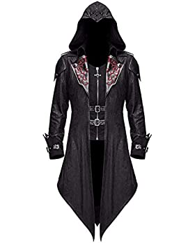 Devil Fashion Men s Steampunk Gothic Hooded Leather Jacket Coat Halloween Cosplay Stage Performance Costume