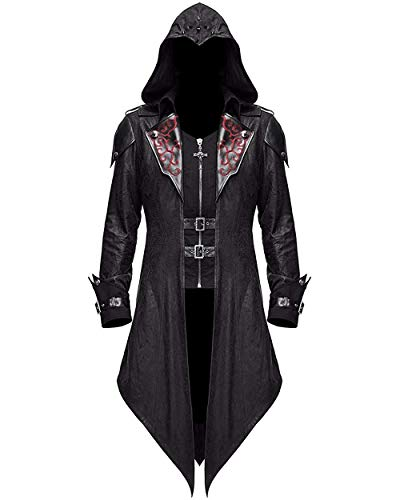 Devil Fashion Mens Gothic Hooded Jacket Coat Steampunk Fashion Men Stage Performance Costume