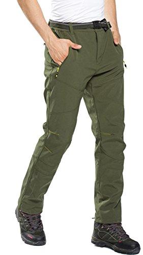 Pantalones de Trekking Hombre Pantalon Softshell de Montaña Mujer Pantalones Impermeables a Prueba De Viento, Hombre:Verde 1, Gr. EU-S/Asia-L