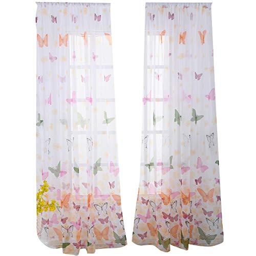Fornateu Schmetterling gedruckt Halb Gardinen Blumen-Fenster Verbandsmull Wohnzimmer, Schlafzimmer, Fenster drapieren Balkon Tulle Raumteiler