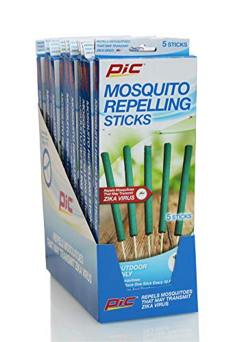 PIC Mosquito Repelling Sticks, 5 Count Box, 12 Pack - Mosquito Repellent for Outdoor Spaces - 60 Sticks Total