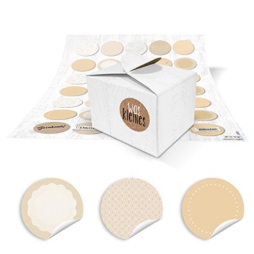 35 kleine weiße Geschenkschachteln Schachteln 8 x 6,5 x 5,5 + 35 runde neutrale beige natur farbene Blanko-Aufkleber zum Selber-machen basteln v. Mitgebseln, give-aways...
