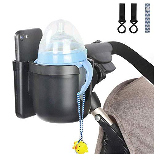 Getränkehalter für Kinderwagen Buggy,Universal Fahrrad Kinderwagen Buggy Flaschenhalter Babyflasche,Getränke- und Kaffeetassenhalter mit Telefonaufbewahrungsbox,für Kinderwagen und Fahrrad