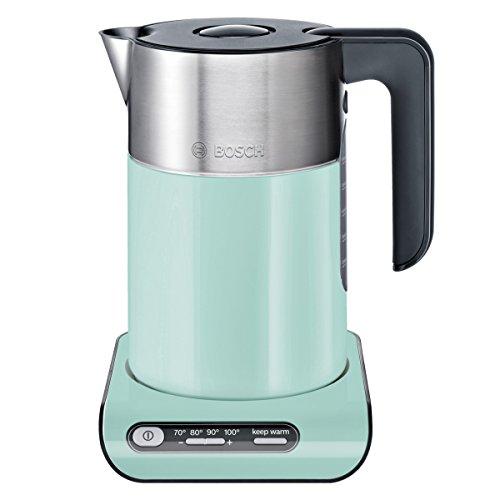 Bosch TWK8612P kabelloser Wasserkocher, Abschaltautomatik, Überhitzungsschutz, Temperaturwahl, Warmhaltefunktion, 1,5 L, 2400 W, türkis