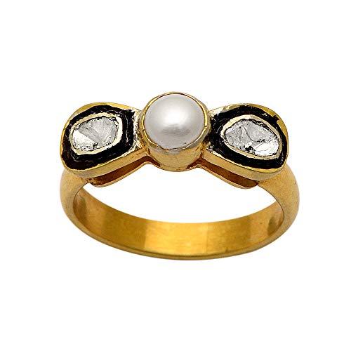 0.50 CTW Anillo de diamantes Polki, anillo de perlas finas victorianas de plata de ley 925 chapado en oro de 14 quilates, anillo de promesa de diamantes hecho a mano (22)