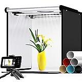 SAMTIAN Light Box Kit 40 * 40 * 40cm Box Fotografico LED Bi Colore 3200-5600K Dimmerabile Set Fotografico Portatile Con Treppiede e 6x Sfondo (Nero/Bianco/Blu/Beige/Grigio/Rosso)