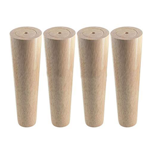 SHOP YJX 4 piezas de madera de roble 200 x 58 x 40 mm altura fiable inclinado muebles patas con placa de hierro sofá mesa armario pies