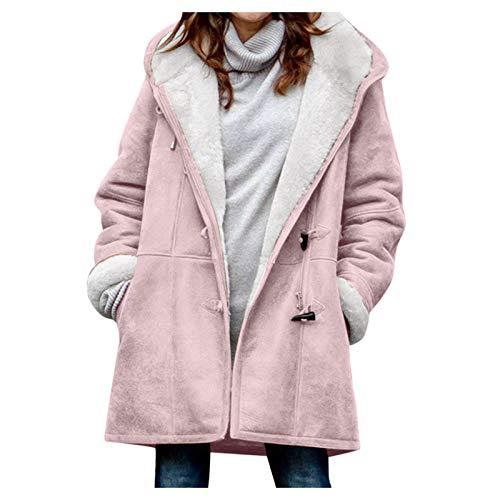 SHOBDW Mujer Venta Liquidación Sólidos Manga Larga Suéteres de Felpa Suave Jerséis Calientes Abrigo de Lana Artificial Chaqueta de Solapa Invierno Espesar Prendas de Vestir Exteriores (Rosa,M)