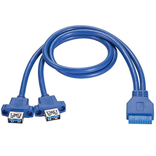 BEYIMEI Cavo del Pannello Frontale USB3.0, USB 3.0 a 19 Pin Doppia Porta USB 3.0 A Femmina, Cavo collettore Scheda Madre USB 3.0 Scheda Madre, con Viti - Blu (0.5 m / 1.64 Piedi)