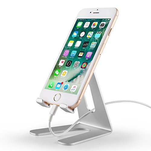 Desktop Cell Phone Stand,Tablet Stand,Mobile phone holder,Cell Phone Holder,Aluminum Stand Holder for iPhone X,iPhone 8 (All Size) and Tablet (4~9.7 inches),(Silver) OFTENSEE