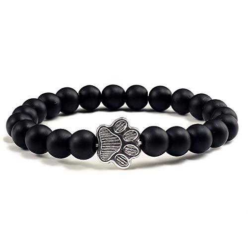 ZGRJIUERYI armband van steen, lavasteen, natuursteen, hanger, armband, hand, palen, elastisch, korrel, modieus, voor mannen en vrouwen, sieraden, zwart