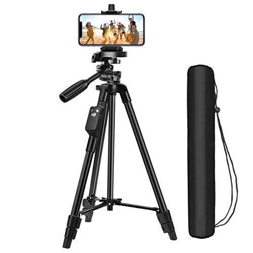 最新版  三脚 スマホ三脚 Bluetoothリモコン付き ビデオカメラ 一眼レフカメラ ミニ三脚 3WAY雲台 4段階伸縮 360回転 収納袋付き 軽量 持ち運びに便利 iPhone Android スマホ等対応 日本語説明書付き