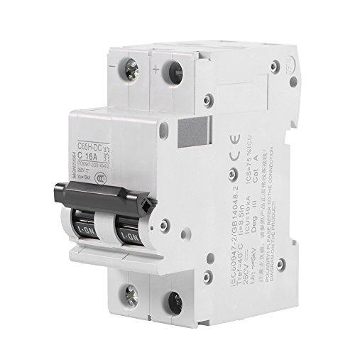 Leistungsschalter, C65H-DC 2P Stromschutzschalter 250V DC 2P Niederspannungs miniatur leistungsschalter Solar Energy Switch 16A /32A/63A Leitungsschutzschalter Neutralleiter,Circuit Breaker(16A)