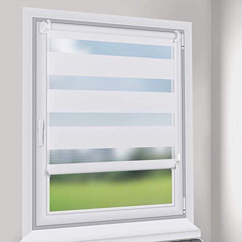 Sekey Doppelrollo - Duo Rollo Klemmfix ohne Bohren - 75cm x 130cm - Duo Rollos für Fenster und Tür - Sonnenschutz - Weiß