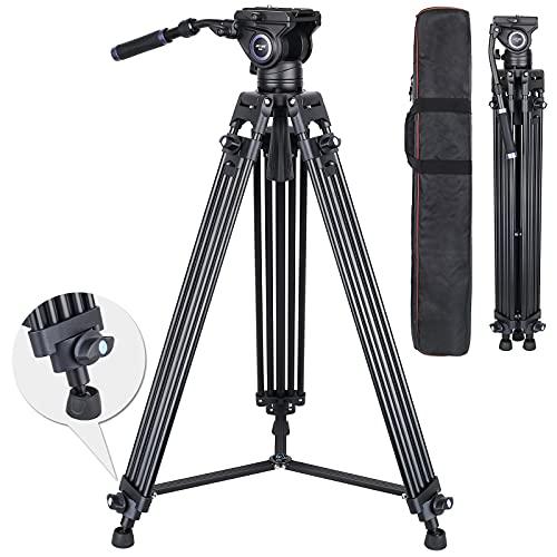 ARTCISE MS80 - Trípode de vídeo de alto rendimiento (184,4 pulgadas, aleación de aluminio, doble tubo, cierre rápido, cabezal líquido, para cámara réflex digital, carga máxima de 15 kg)