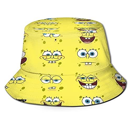 N \ A Summer Travel Cartoon Bob Esponja sombrero de pescador sombrero de sol playa cuenca sombrero transpirable cubo sombrero regalos para hombres mujeres adolescentes