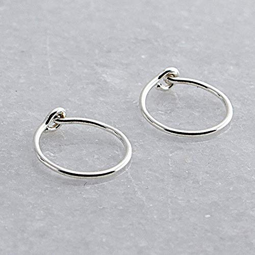 Small 8mm or 0.31 Inch Outer Diameter Sterling Silver Hoop Earrings for Women Fashion Earring Rings Thin 22 Gauge Cartilage Tragus