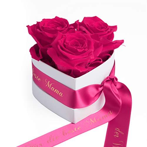 ROSEMARIE SCHULZ Heidelberg Rosen Box Herz 3 Infinity Blumen (Pink, 3 Rosen Für die Beste Mama der Welt)
