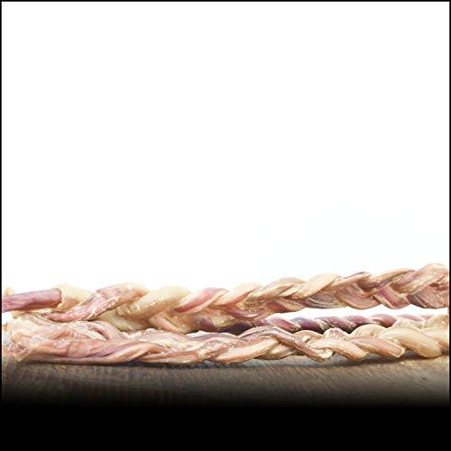 George & Bobs Schweineziemer gezopft - 500g | Geflochtene Schweineziemer | Am ganzen Stück Nicht geschnitten 20-30cm | Langer Kauspaß | 100% Natürlich ohne Zusatzstoffe