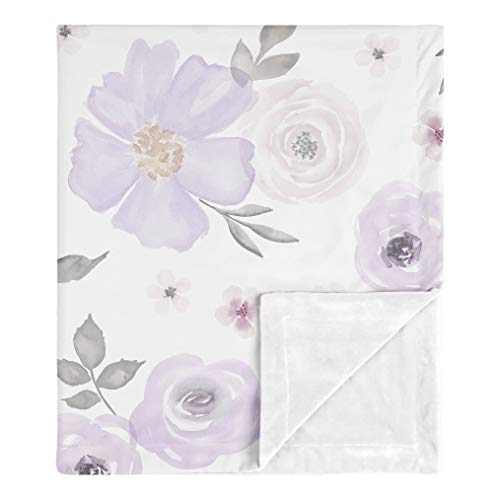Sweet Jojo Designs Shabby Chic Rose Flower Watercolor Floral Baby Girl Receiving Security Swaddle Blanket for Newborn or Toddler Nursery Car Seat Stroller Soft Minky - Lavender Purple, Pink and Grey