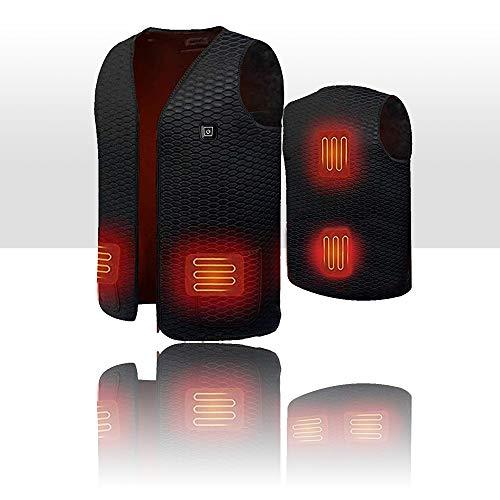 Chaleco de calentamiento eléctrico USB - Chaleco Térmico Eléctrico Ajustable de 3 Modos - Hombres y Mujeres - Caza Ropa para Motociclismo Pesca Esquí Senderismo Camping - 24.9''