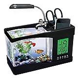 ShawnBlue Tanques de Peces USB Home Office Desktop Fish Tank Water Cluster Cuadro LED Lámpara De Mesa WAN Años Calendario Almacenamiento Pet Cilindro Acuario (Color : Black)