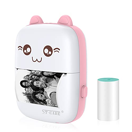 Pocket Mini Printer, Bluetooth Wireless Mini Thermal Printer with Android or iOS APP for Pictures, Receipts, Notes, Lists, Messages, QR Codes Print, Portable Smart Printer,Pink