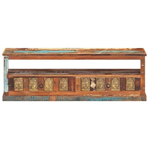 Wakects Lowboard TV Möbel,Fernsehtisch für Wohnzimmer mit Zwei Schubladen Retro TV-Schrank Sideboard im 50/60er Jahre Look mit Buddha-Verkleidung Altholz Massiv 120x30x40cm