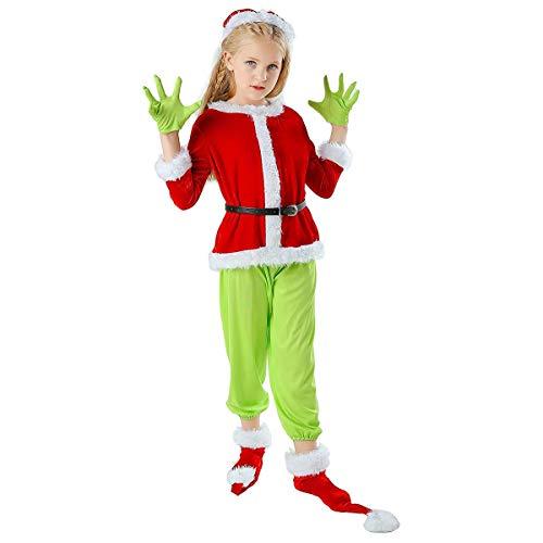 W-life Full Set di Natale Grinch Costume Bambini Mostro Verde Mask Cosplay Unico Uniforme Santa Vestito Vestito Operato Halloween Party (Size : XX-Large)