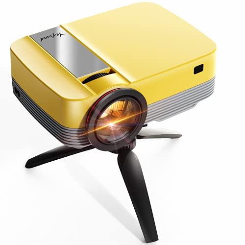Proiettore Portatile Supporta 1080p Full HD 6500 Lumen,Mini Proiettore con Treppiede, Videoproiettore Yefound Q6 per TV Stick HD USB AV PS4 Laptop