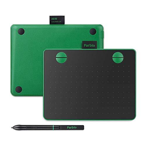 Parblo A640ペンタブレット、8192レベルの筆圧を備えたワイヤレスバッテリーレスペン、6×4インチの操作エリア、4個カスタマイズショートカットキー、Windows/Mac 操作システム 対応 (緑)