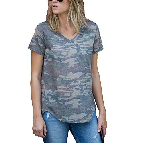 Amaryllis Apparel Women's Muted Camo Loose Cut Casual V-Neck Short Sleeve Top