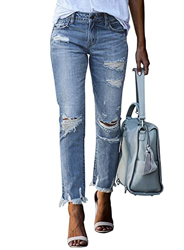 Dokotoo Womens Distressed Raw Hem Washed Jeans Ripped Slim Fit Boyfriend Stretch Denim Pants Sky Blue XL