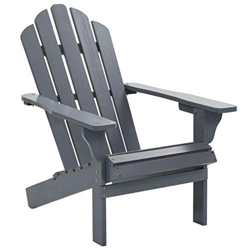 Festnight Garden Adirondack Chair Wood Reclining Lounger Deck Chair for Balcony, Patio, Garden, Backyard, Poolside, Indoor and Outdoor Furniture 27.8 x 37.8 x 36.2 Inches (W x D x H) (Gray)