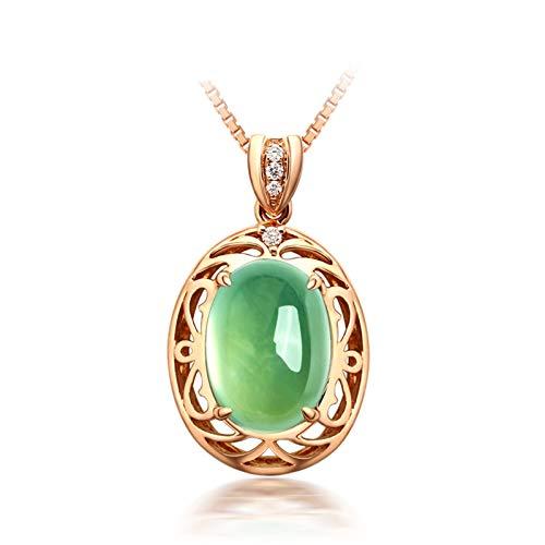 Daesar 18K Oro Rosa Collana Ciondolo Donna 4ct Prehnite Verde Ovale Collane Diamanti Donna Collane Donna Ciondolicollana Amicizia Bambine