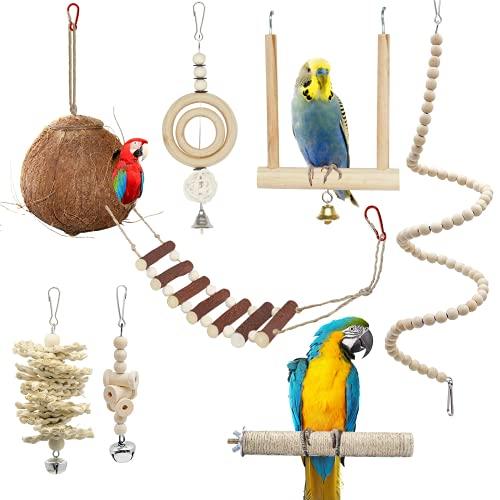 Natürliches Kokosnuss-Vogelnest, 7 Stück Vogel Papagei Glöckchen Swing Spielzeug, Vogelspielzeug Kauspielzeug aus Naturholz Hängematte für Kakadus, Sittiche, Käfigspielzeug, Nymphensittiche, Conures