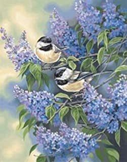 PaintWorks Dimensions Crafts Bulk Buy Paint by Number Kit 11 inch x 14 inch Chickadees and Lilacs 9136MED-1 (2-Pack)