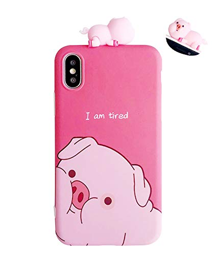 UnnFiko Piglet Phone Case Compatible with iPhone 7 Plus/iPhone 8 Plus, Cute 3D Cartoon Animal Soft Silicone Protective Case for Girls Women (Tired Pig, iPhone 7 Plus / 8 Plus)
