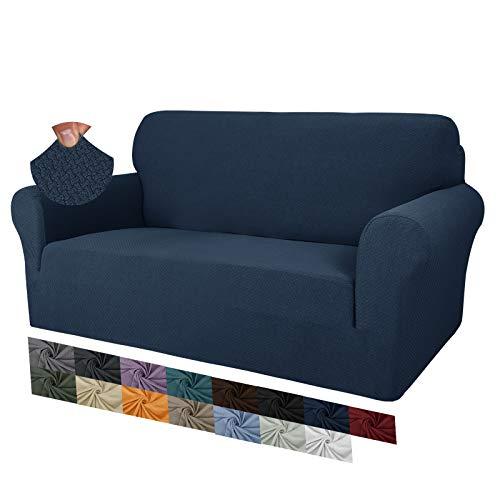 MAXIJIN Fodere per divano jacquard creative per 2 posti, 1 pezzo copridivano antiscivolo super elasticizzato per divano per cani protezione per mobili per animali domestici (2 Posti, Blu Navy)