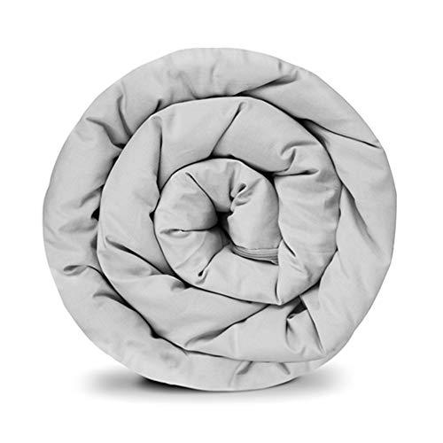 GRAVITY Basic - Edredón de peso para adultos y jóvenes (135 x 200 cm, algodón, sistema de funda con cremallera), color gris claro