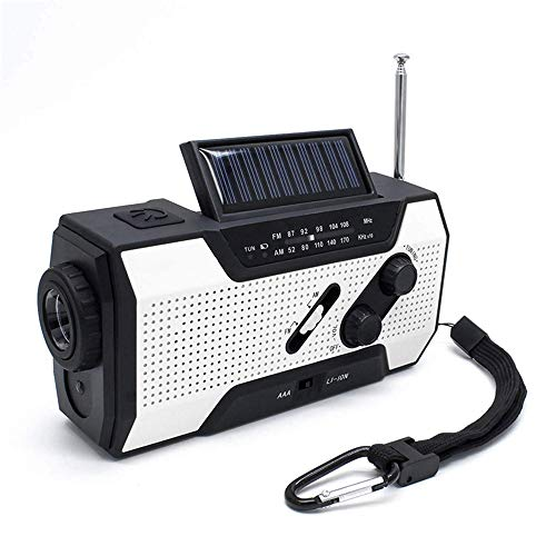 XFSD Weißes tragbares Not-Solar-Handkurbelradio mit AM/FM, LED-Taschenlampe, Generatorkurbel, Not-Aus, Leselampe, 2000-mAh-USB-Ladegerät und SOS-Alarm