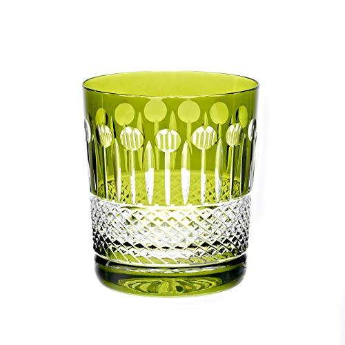 CRISTALICA Verre à Whisky Vert Tasse à Boire Coupe en Cristal de Cristal 280 ML