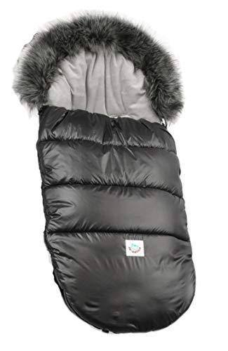 Schlafsack für Kinderwagen Baby Füßsack wasserdicht 110 cm Winter FLUFFY Fußsack Warmer (Schwarz)