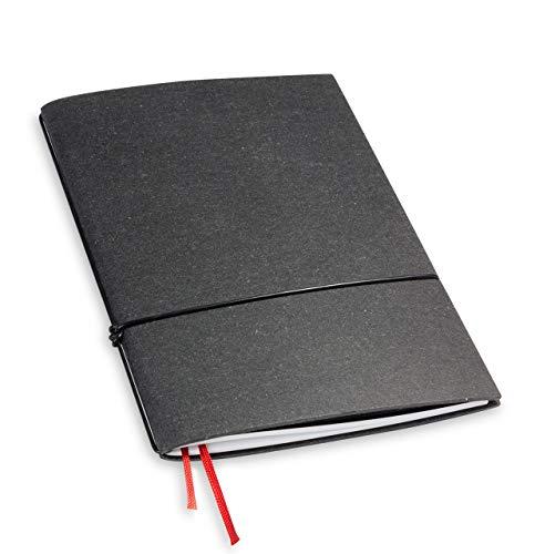 A5, revolutionär + 7 mm dünn! X17- Notizbuch! Recyceltes Leder, grau; Inhalt: 1 Notizheft (gepunktet)+ Buchband, austauschbar=nachhaltig! Made in Germany, 17 Jahre Garantie*