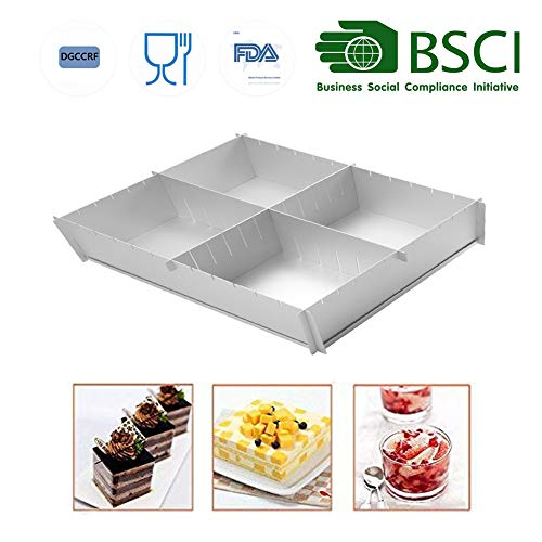 HAIT Cake Baking Aluminum Baking Tray Multifunction Adjustable Square Family Baking Mold (A)