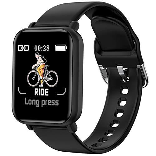 YSSSZ Reloj De Fitness Inteligente Smartwatch Pulsera Deporte Monitores De Actividad con Cronómetro Podómetro Impermeable Notificaciones Blood Pressure Pulsómetro por Mujer Hombre Niños,Negro