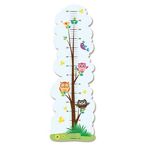 Eule Baum bunt Deko Messlatte fürs Kinderzimmer im Norwegian Style Kinderdeko Holz MDF *Made in Germany 75 cm KMS001