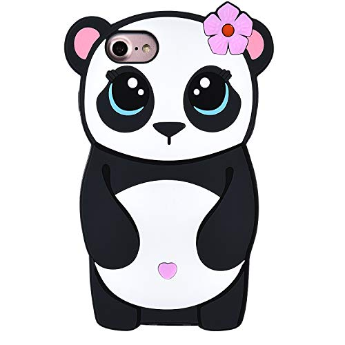 """TopSZ Flower Panda Case for iPhone 8/iPhone 7/iPhone 6 6S 4.7"""",Silicone 3D Cartoon Animal Skin Cover,Kids Girls Teen Animated Cool Fun Cute Kawaii Soft Rubber Funny Unique Character Cases for iPhone6"""